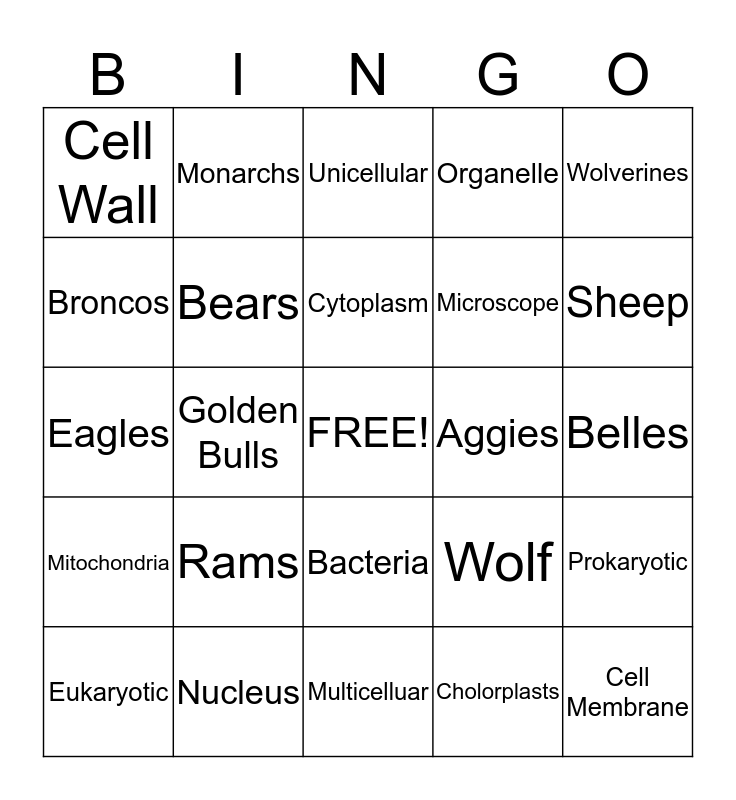 Cells and Colleges Bingo Card