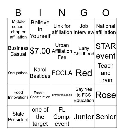 FCCLA  Bingo Card