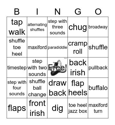 Tap Dancer's Bingo Card