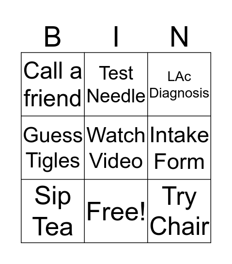 Modern Acupuncture Bingo Card