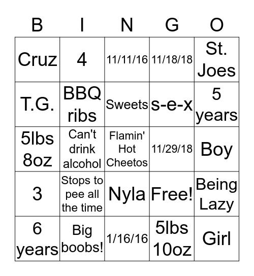 Kimble Baby Trivia Bingo Card
