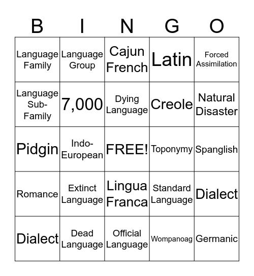 Language Unit Bingo Card
