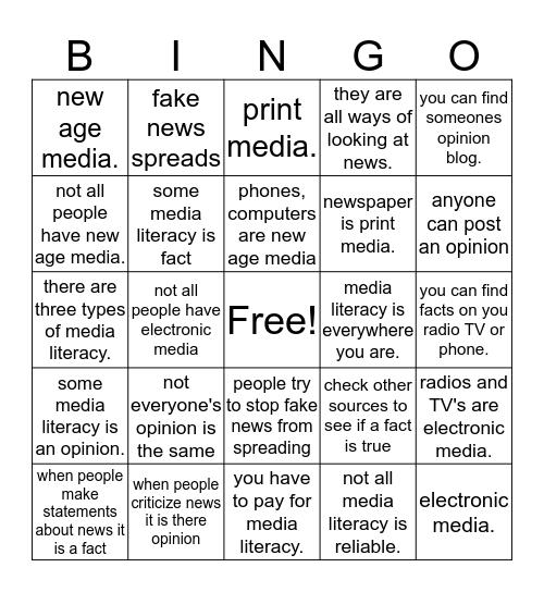 media literacy Bingo Card