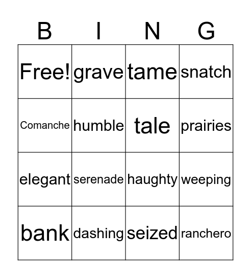 La Llorona Vocabulary Bingo Card