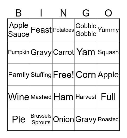 Thanksgiving Words! Bingo Card