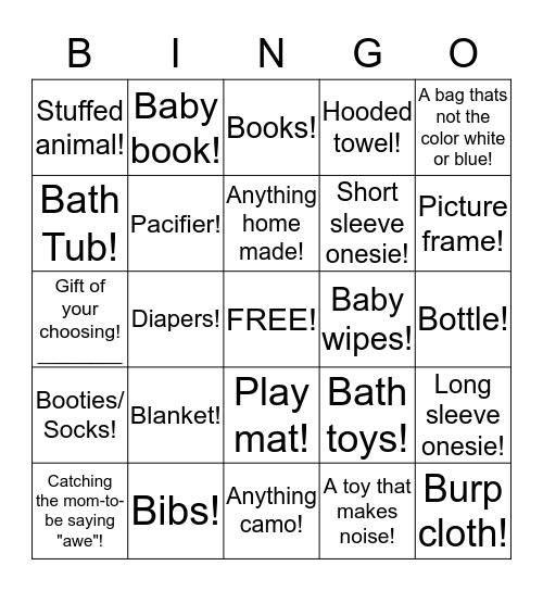 Baby Shower Gift Bingo! Bingo Card