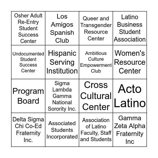 Hispanic Serving Institution Student Showcase Bingo Card
