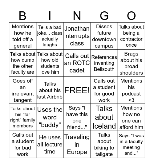 Dan Novatnak Bingo Card
