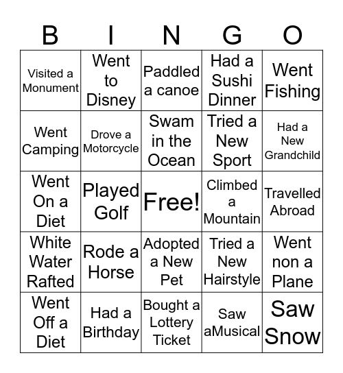 WHAT I DID ON MY SUMMER VACATION Bingo Card