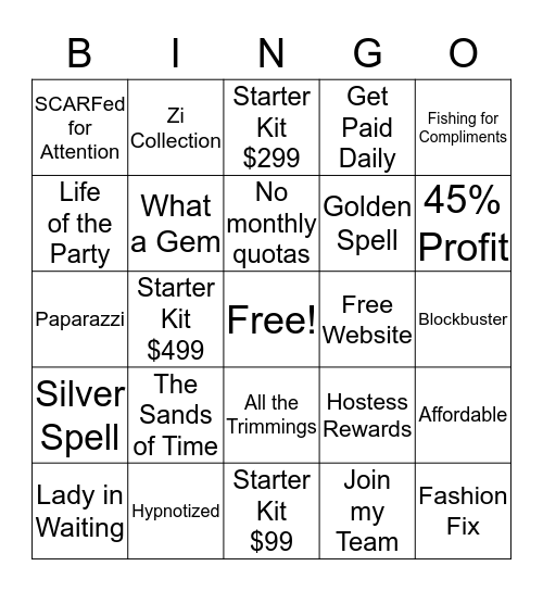 Sparkle N Shine Diva Bingo Card