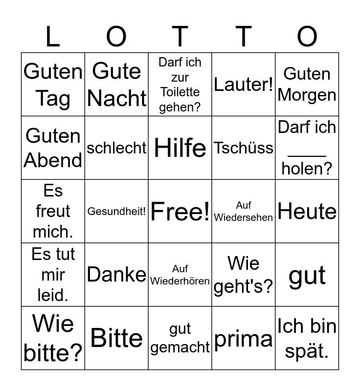 Deutsch 1, Phrasen 1 Bingo Card