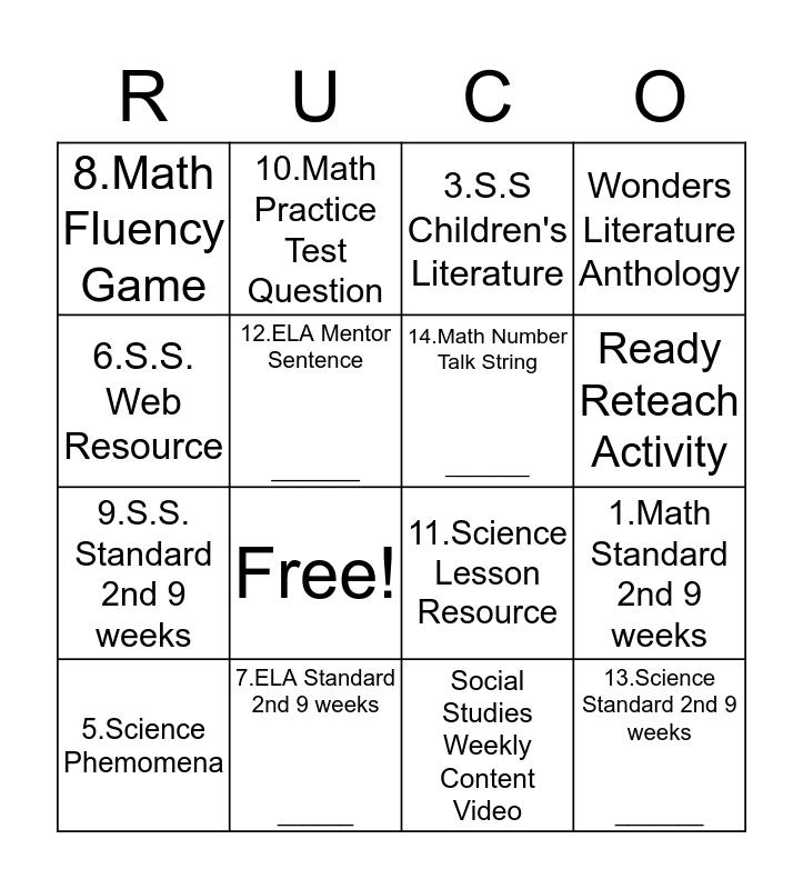 Curriculum Corner Bingo Card