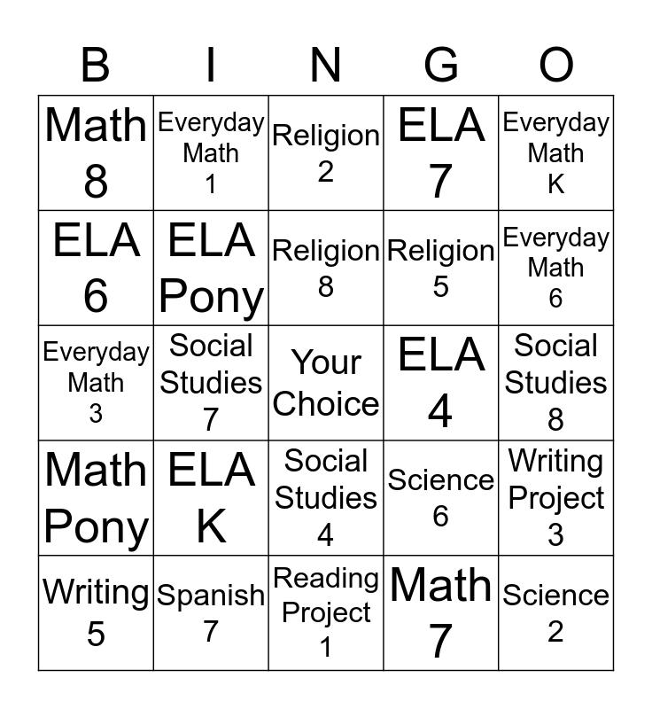 Observation Bingo Card
