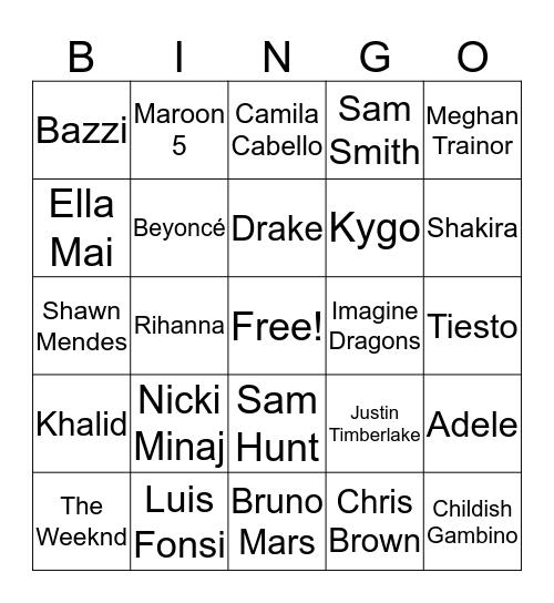 Top Hits  Bingo Card