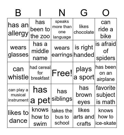 BINGO TO MEET YOU! Bingo Card