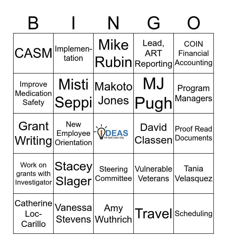 IDEAS GRID Bingo Card