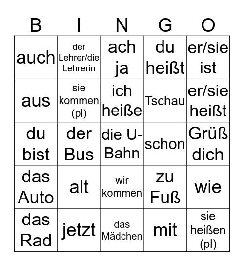 German 1 Bingo Card