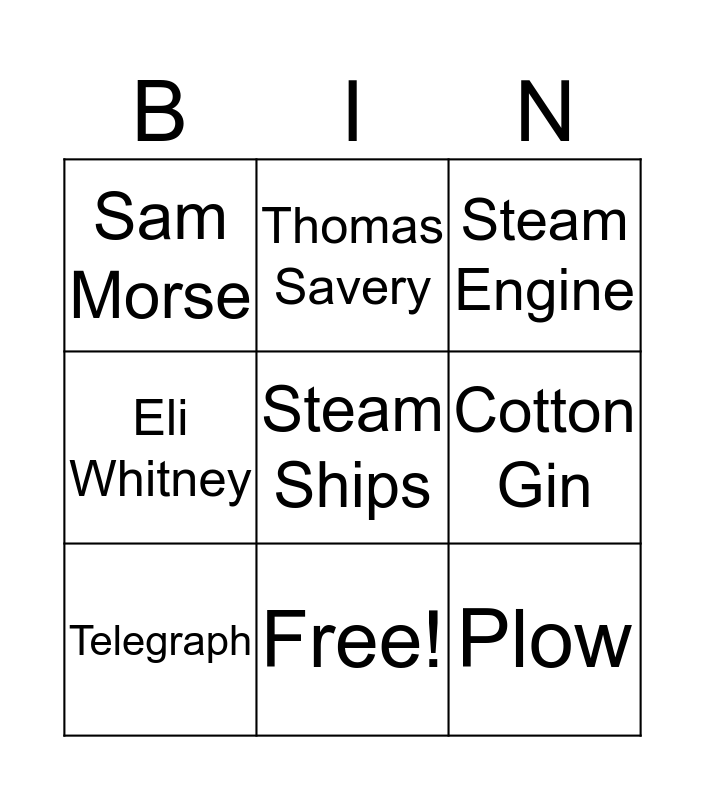 American Industrial Revolution Bingo Card