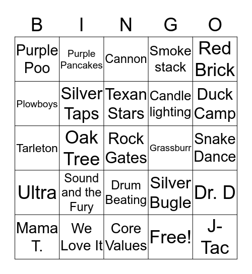 Back to our Roots Yell Contest BINGO Card