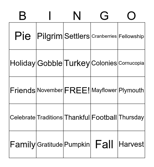 HAPPY THANKSGIVING Bingo Card
