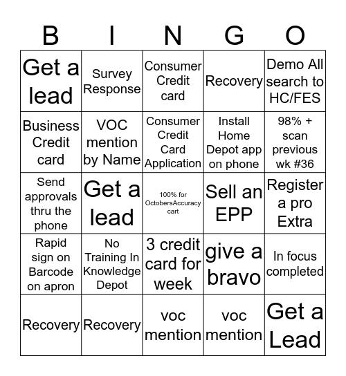Cashier Appreciation Bingo Card