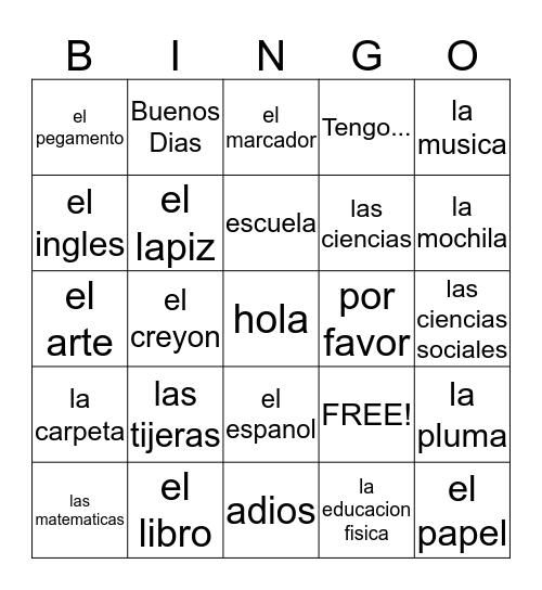 La Escuela Bingo Card