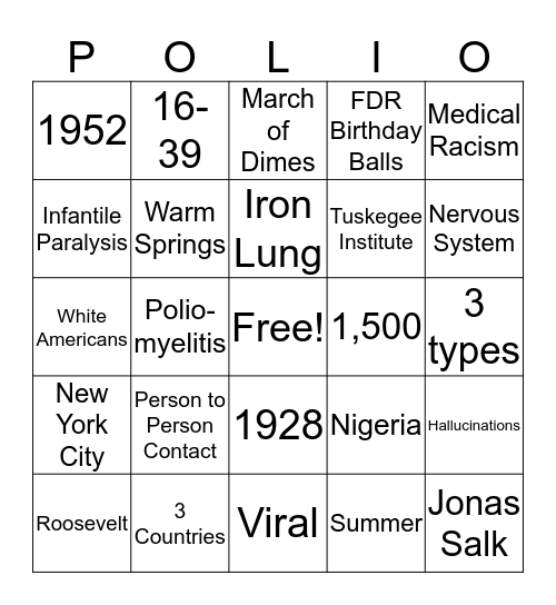 Polio Bingo Card