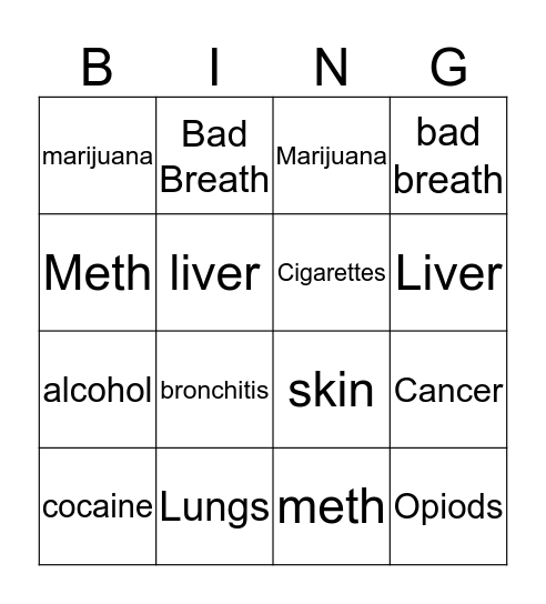 Drugs and Your Body Bingo Card