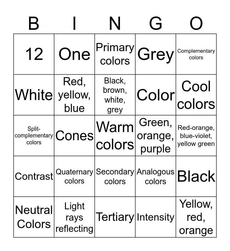 All About Color Bingo Card
