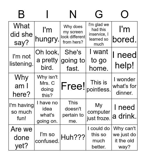 In-Service Bingo Card
