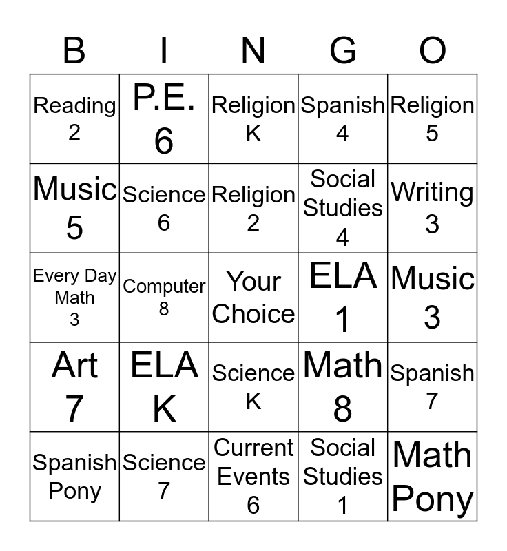 Observation Bingo II Bingo Card