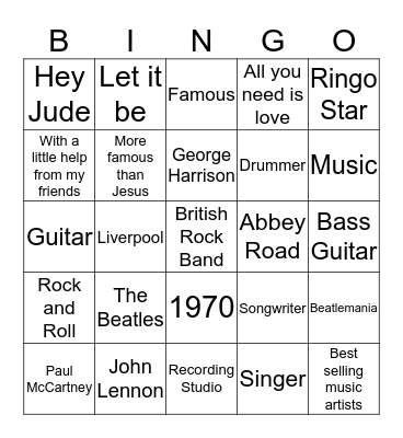 The Beatles Bingo Card