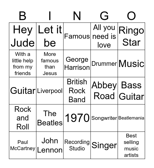 The Beatles Bingo Card