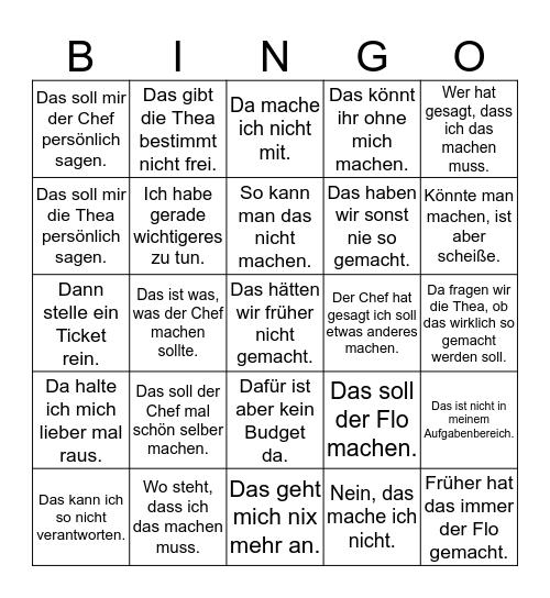 Arbeitsverweigerung Bingo Card