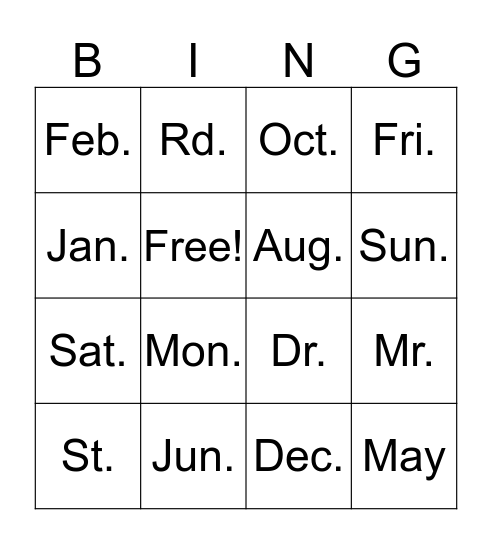 Abbreviations Bingo Card