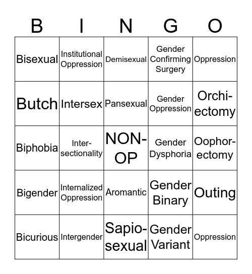 LGBT TERMS Bingo Card