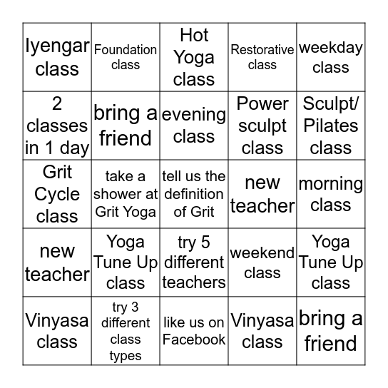 GRIT Yog-o Bingo Card