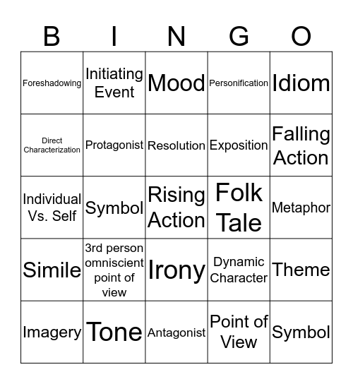 Fiction Vocab Words  Bingo Card