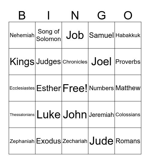 Bible Books Bingo Card