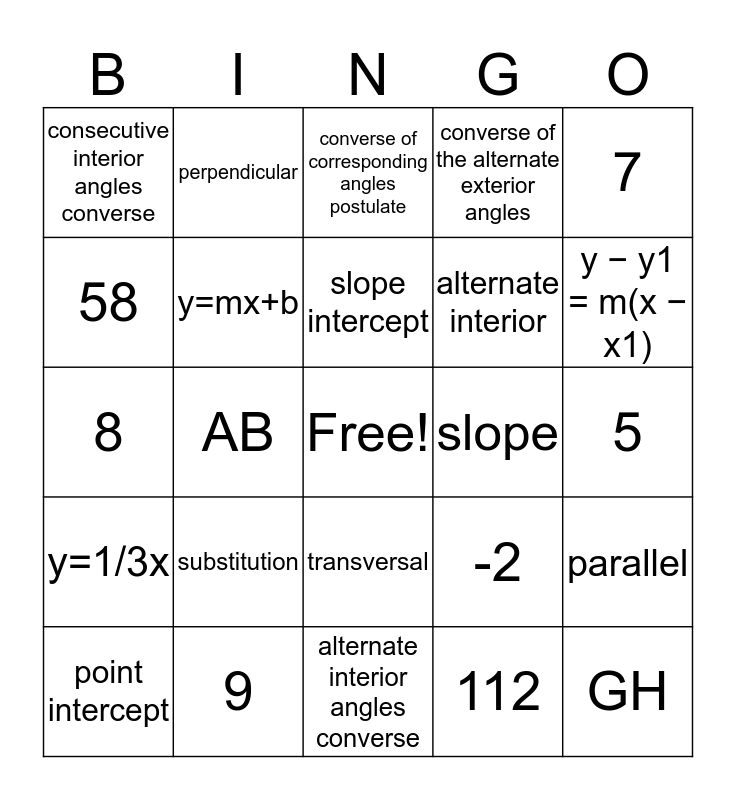 Geometry Chapter 3 Bingo Card