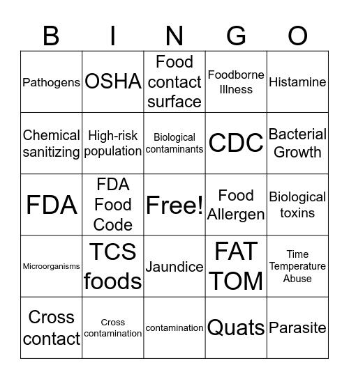 ServSafe Vocabulary Bingo Card