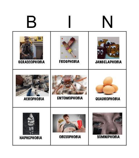 PHOBIAS Bingo Card