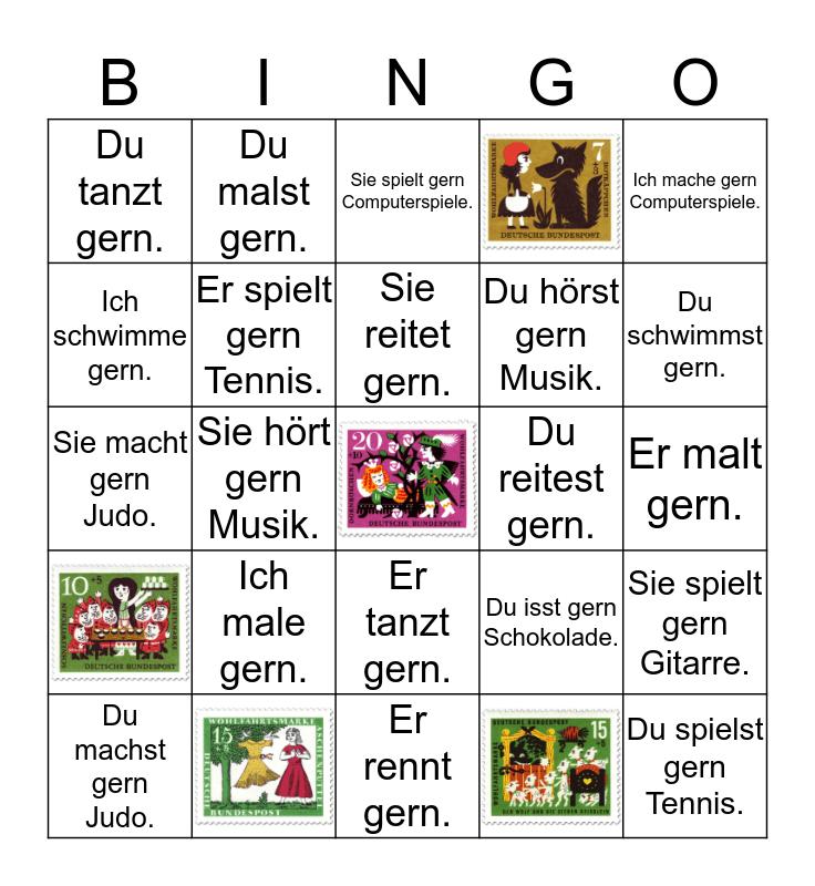 Verben e-st-t Bingo Card