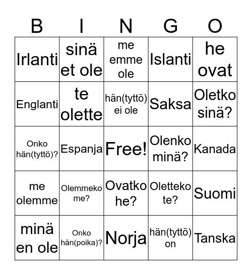 Yippee 4 Kpl 3 Bingo Card