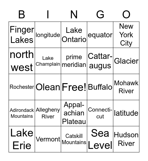 NYS GEOGRAPHY REVIEW Bingo Card