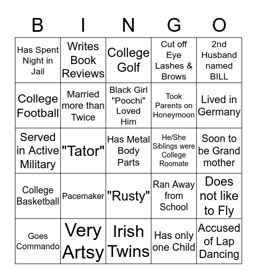 H I L L M A N    F A M I L Y Bingo Card