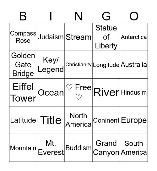 ♡Geo Bingo♡ Bingo Card