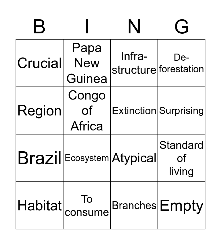 Unit Two Vocabulary  Bingo Card