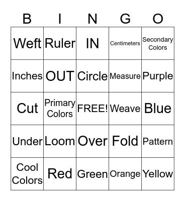 Weaving Project Bingo Card