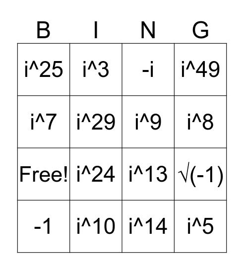 Imaginary Numbers Bingo Card